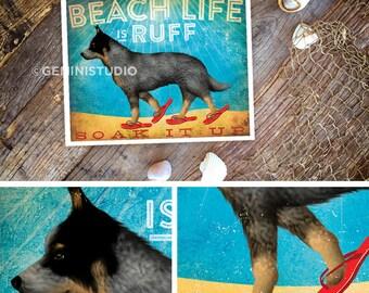 Beach life is Ruff Blue Heeler Australian Cattle dog illustration in sandals art giclee signed artists print by Stephen Fowler