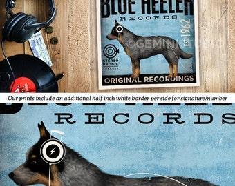 blue heeler australian cattle dog records album inspired artwork giclee print signed by artist stephen fowler