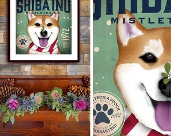Shiba Inu dog Mistletoe Company graphic artwork UNFRAMED signed artist's print by Stephen Fowler Pick A Size
