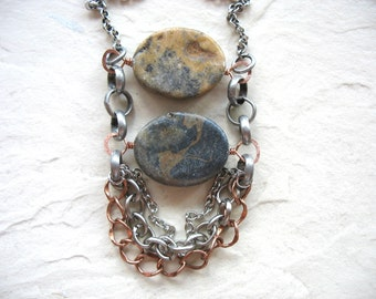 Jasper Necklace, Jasper Jewelry, Jasper Gemstone Statement Necklace, handmade artisan Jasper jewelry, Stone Necklace, Handmade Necklace