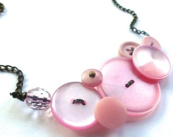 Holiday Jewelry Sale Blush Pink Rose Smoke Vintage Button Necklace - Shabby Chic