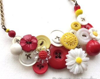 Red Yellow and White Flowers Vintage Button Statement Necklace