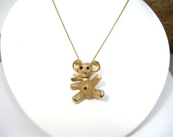 Teddy Bear Goldtone Pin / Pendant with Red Rhinestones, Vintage Costume Jewelry, 3-Dimensional, Bear Lover, Gift for Her
