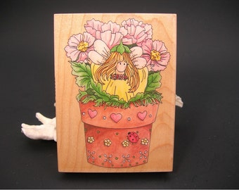 Wood Rubber Stamp, Garden Fairy Amongst Poppy, New Old Stock Unused, Stamps Happen, Inc., Linda Grayson, 4x3, Cutesy Design, Flowers