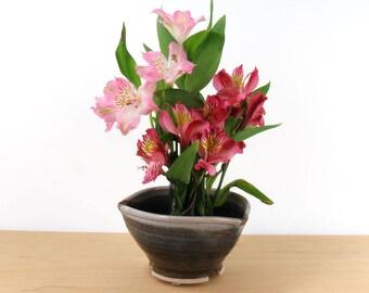 Three Tube Stoneware Flower Vase /Flower Holder / Flower Arranger/ Handmade Wheel Thrown Pottery