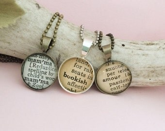 Word Necklace Made From a Vintage Dictionary, Definition Necklace You Pick the Word, Personalized Profession Pendant