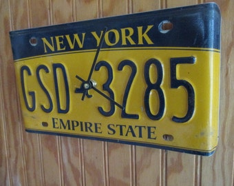New York License Plate Clock - Recycled and Repurposed Wall Clock - FREE SHIPPING