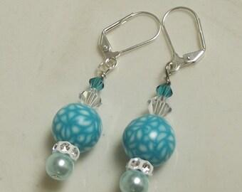 ON SALE Aqua White Beaded Earrings, Polymer Clay Beads, Mod, Hippie, Groovy