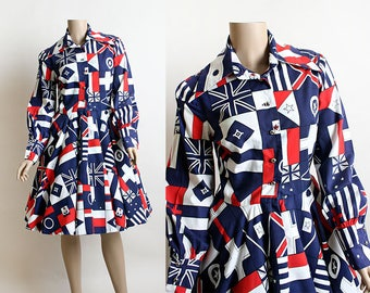 Vintage 1960s Dress - Novelty Print Foriegn Country Flags - European London Swinging 60s Countries Red White and Blue Cotton Dress - Medium
