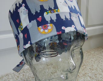 Tie Back Surgical Scrub Hat with Llama Love