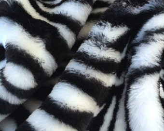 Zebra - quality short style soft striped black and white synthetic fur fabric - Long HALF