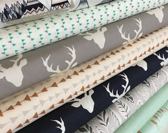 Quilting fabric, Hello Bear fabric bundle by Bonnie Christine, Deer fabric, Bundle of 8- You Choose the Cut, Free Shipping Available