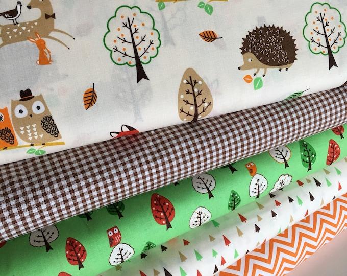 Forest Fellows fabric, Fox fabric, Rustic Fabric, Boy Room Decor, Owl Decor, Forest Colorway, Robert Kaufman- Bundle of 5, Choose The Cut