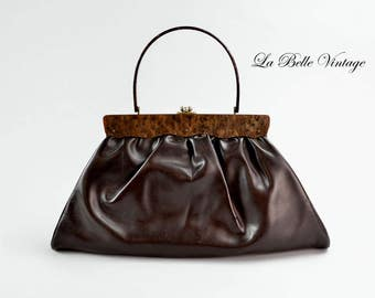 Florida Handbags of Miami Large Vintage 60s Brown Lucite Handbag