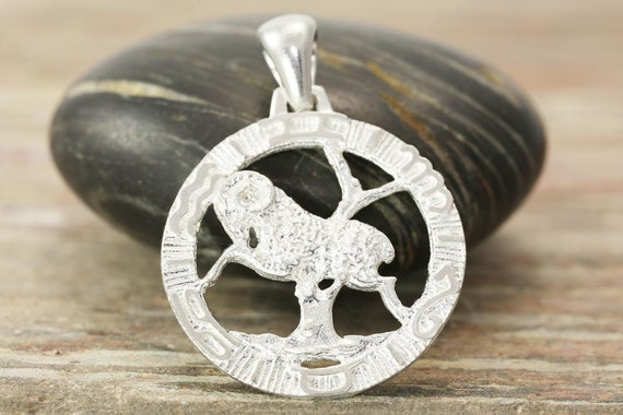 Aries zodiac pendant in antiqued silver