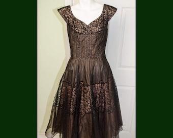 Vintage 1950's Black Illusion Lace Chiffon Cocktail Evening Dress