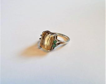 Ring - Citrine and Emeralds in Sterling Silver