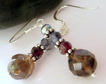 Artisan Multi Colored Gemstone Pearl Sterling Silver OOAK Boho Hippie Festival Rustic Earthy Fall Colors Gift for Her Earrings