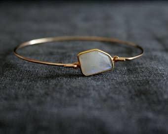 Moonstone Stacking bangle Gold white iridescent bangle Vitrine Gift for her Under 50