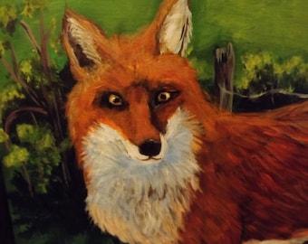 Fox Painting Primitive Painting Red Fox Folk Art Painting Wood Painting Original OOAK 21 x 15