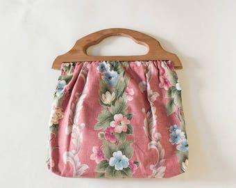 1960s Knitting Bag --- Vintage Floral Handbag