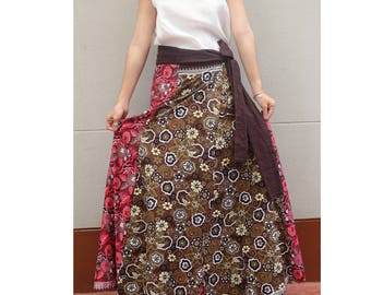 Handmade 8 Pieces floral Thai batik Sarong patchwork long comfortable  wear wrap skirt fit all size (BT 01)