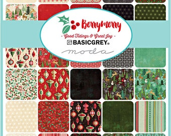 "Moda BERRY MERRY Layer Cake 10"" Precut Fabric Quilting Cotton Squares BasicGrey Berrymerry 30470LC"
