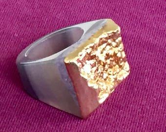 Dara Ettinger JILL Druzy Ring in Purple/Gold sz 7.5