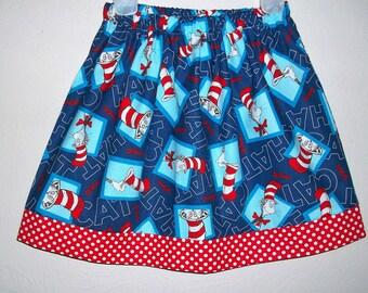 Girls Skirt Cat in the Hat Skirt Dr Seuss Skirt Seuss Party Seuss Clothes toddler skirt School Skirt Seuss Birthday Seuss Dress with Dots