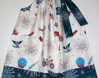 18m 4th of July Dress Patriotic Dress with Fireworks Pillowcase Dress Red White and Blue Parade on Main Patriotic Outfit Ready to Ship