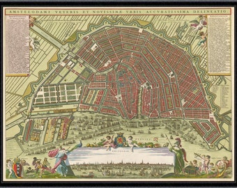 Amsterdam vintage map Amsterdam reproduction map amsterdam map Amsterdam giclee home decor wall art old map Netherlands Holland