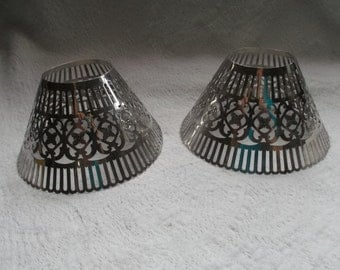Pair of Vintage Silver Plated Gorham Pierced Lamp Shades