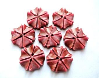 6 Vintage flowers buttons plastic 18mm, unique color, RARE