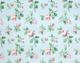 1930s Vintage Wallpaper by the Yard - Pink Roses on Blue, Floral Wallpaper