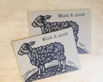 Postcard, Black Sheep Letterpress Postcard, Linocut Letterpress Postcard, Black & Proud Postcard
