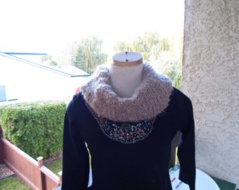 """Infinity light beige hand knit scarf and hat 10"""" wide * 18"""" long wool and acrylic"""