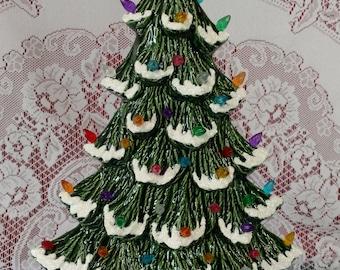 "17"" Nowell Sill Sitter Lighted Ceramic Christmas Tree Green - Flocked"