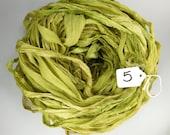 Sari silk Ribbon, Recycled Silk Chiffon Sari Ribbon, green chiffon ribbon, tassel supply, Apple green ribbon, weaving supply