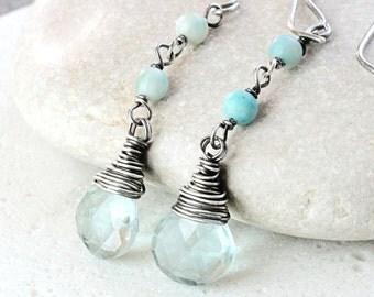 Multi Gemstone   Earrings Oxidized Silver  March Birthstone Earrings Gemstone  Jewelry Fashion Accessories  Handmade Jewellery Birthday Gift
