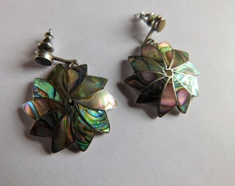 Abalone Shell Sterling Earrings Flower Jewelry Dangle Pierced Earrings Mexico
