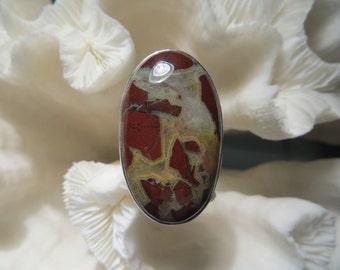 Beautiful Red Agate Jasper Ring Size 5.5