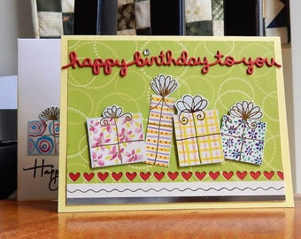 Handmade Birthday Card: gifts, greeting card, card, hearts, friend, yellow, green, complete card, handmade, balsampondsdesign