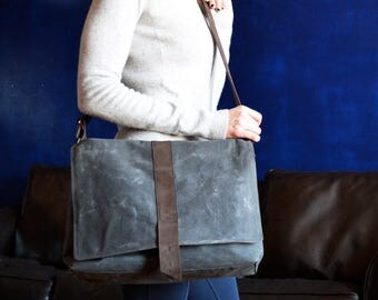 Waxed Canvas Messenger Bag - The Sloane Bag in Charcoal Grey