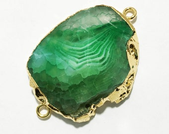 Last One Natural green agate Oval connector with brass, cracked agate connector