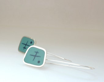 Aqua Blue & Inky blue Drop Earrings - Long Silver Earrings - Modern Dangle Earring - Graphico Atomicic -