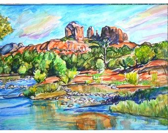SEDONA DREAMING - 11x15 original painting landscape watercolor ooak from GHART, Arizona, Oak Creek, Cathedral Rock, Couthouse Rock, Red Rock