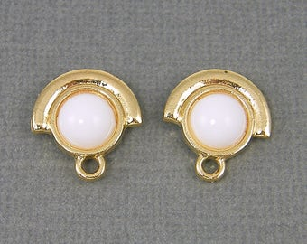 White Earring Posts Gold Semi Circle Round Cab Framed Earring Posts with Loop White Gold Earring Findings |WH2-5|2