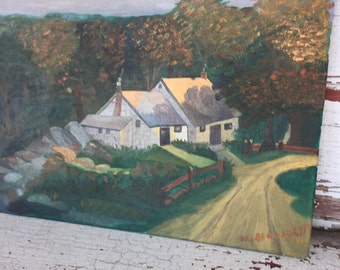Vintage Original Painting on Board of a Rural Countryside Landscape Signed in Corner