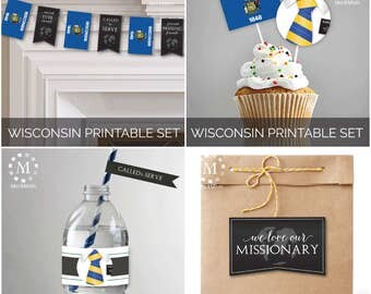 INSTANT DOWNLOAD - WISCONSIN -  Missionary Farewell Welcome Home Decoration Printable Set for Elders