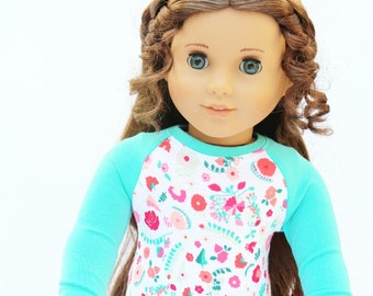 Fits like American Girl Doll Clothes - The Baseball Raglan Tee in Topaz and Carnations, Made To Order
